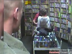 Shameless amateur threesome in a porn video store! AMATEURCOMMUNITY