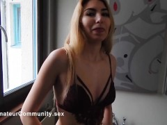 Lingerie babe fingers her tight pussy